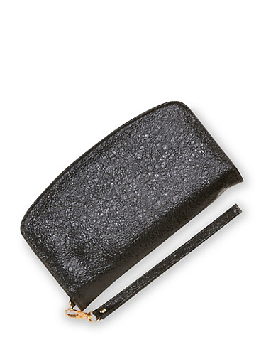 Textured Zip Wallet with Wrist Strap,BLACK,large