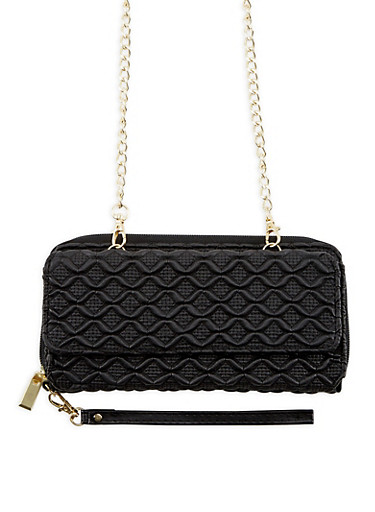 Faux Leather Textured Zip Around Wallet,BLACK,large