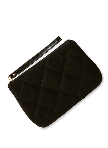 Quilted Velvet Pouch Wristlet,BLACK,large