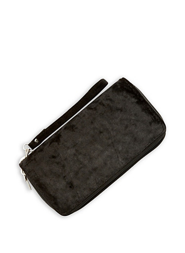 Velvet Double Zip Around Wallet,BLACK,large