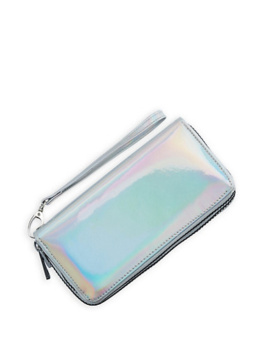 Faux Patent Leather Double Zip Around Wallet,SILVER/HOLOGRAM,large