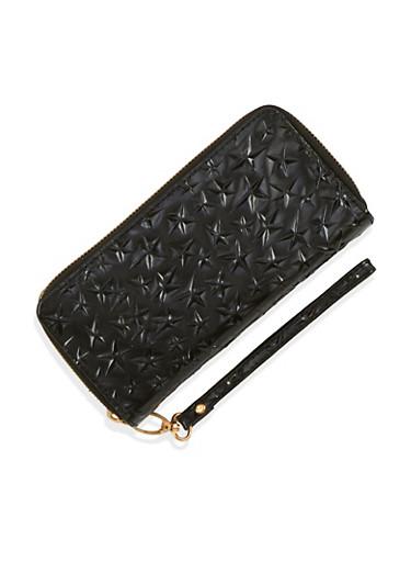 Metallic Stars Zip Around Wallet,BLACK,large