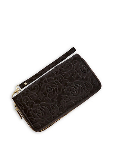 Velvet Rose Zip Around Wallet,BLACK,large