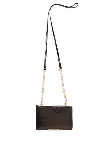Crossbody Faux Patent Leather Wallet,BLACK,large
