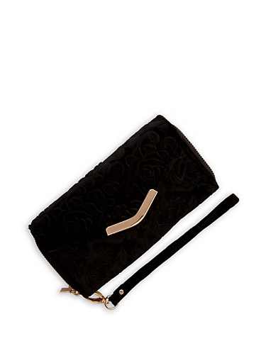 Velvet Rose Envelope Wallet,BLACK,large