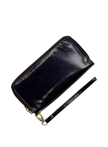 Double Zip Wallet with Removable Wrist Strap,BLACK,large