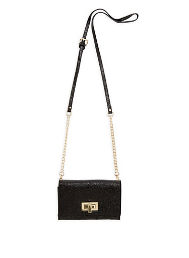 Shimmer Crossbody Bag,BLACK,large