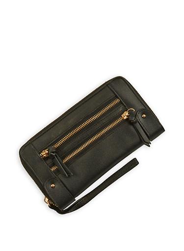Faux Leather Zip Around Wallet Wristlet,BLACK,large