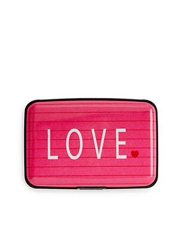 Card Holder Wallet with Love Print,PINK,large