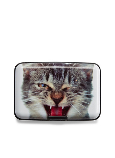Graphic Cardholder Wallet with Winking Cat Print,CAT FACE,large