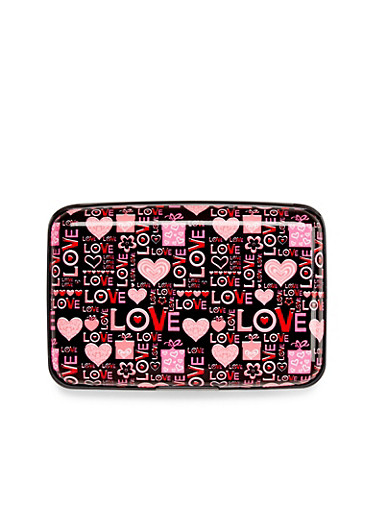 Card Holder Wallet with Love and Heart Print,LOVE HEART,large