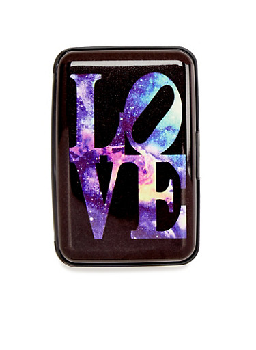 Card Holder Wallet with Psychedelic Love Print,LOVE,large
