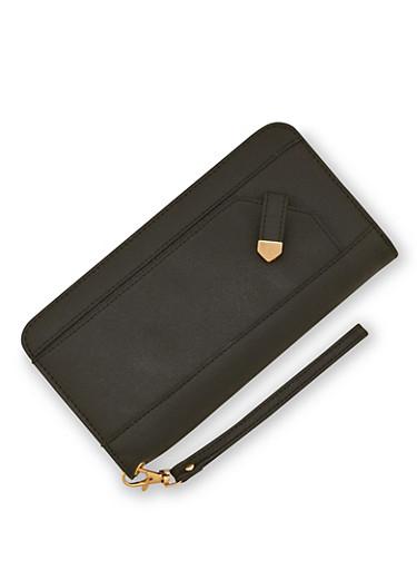 Faux Leather Zip Around Wristlet Wallet,BLACK,large