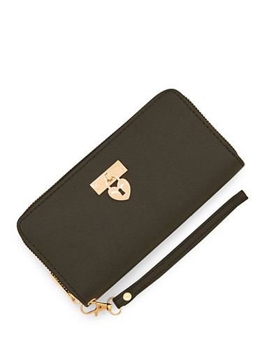 Heart Lock Accordion Wallet,BLACK,large