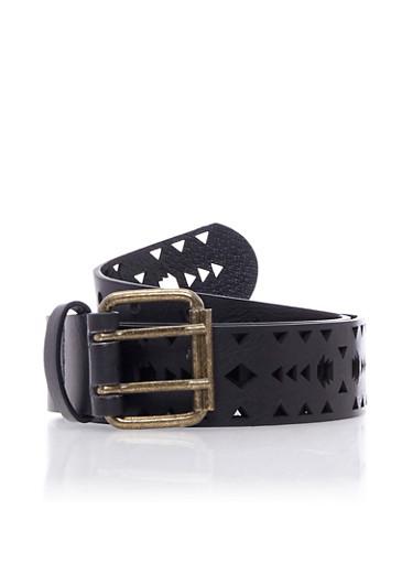 Plus Size Lasercut Belt,BLACK,large