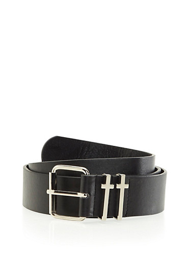 Faux Leather Belt with Cross Fastening Loops,BLACK,large