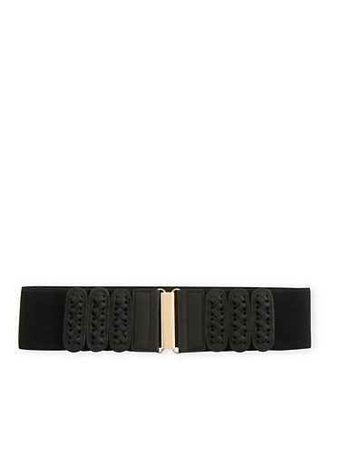 Wide Elastic Belt with Lace-Up Panels,BLACK,large