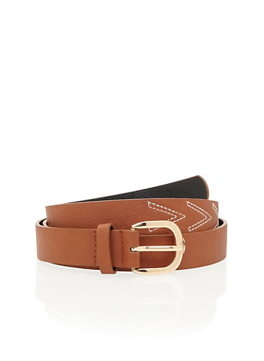 Plus Size Faux Leather Belt with V Stitching,CAMEL,large