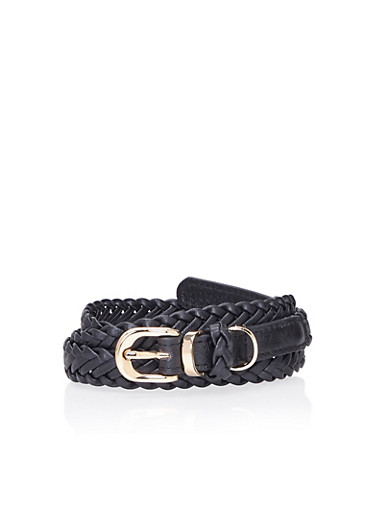 Faux Leather Braided Belt with Metallic Hardware,BLACK,large