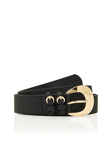 Faux Leather Belt with Multi-Buckle Accents,BLACK,large