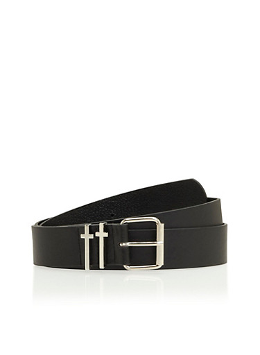 Plus Size Faux Leather Belt with Cross Fastening Loops,BLACK,large