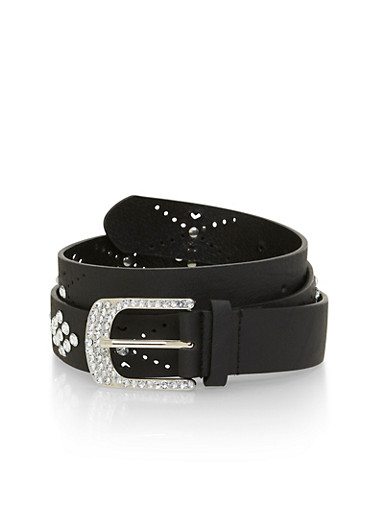 Plus Size Faux Leather Belt with Crystal Accents,BLACK,large