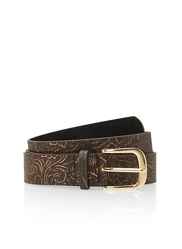 Faux Leather Belt with Floral Embossing,BROWN,large