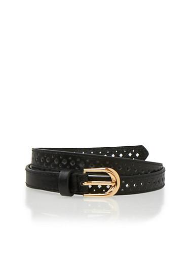 Lasercut Faux Leather Belt,BLACK,large