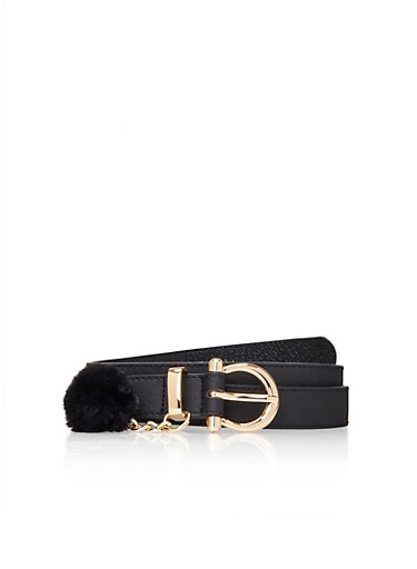 Belt with Faux Fur Pom Pom Charm,BLACK/BLACK,large