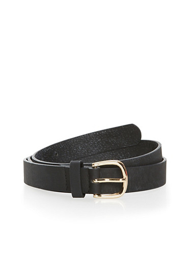 Faux Leather Belt,BLACK,large