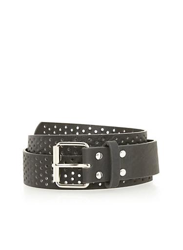 Plus Size Lasercut Faux Leather Belt,BLACK/SILVER,large
