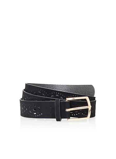 Plus Size Belt in Lasercut Faux Suede,BLACK,large