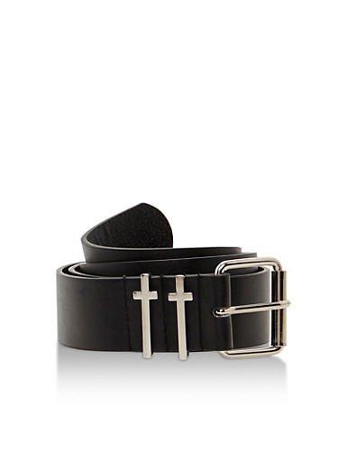 Faux Leather Belt with Metallic Cross Loops,BLACK/SILVER,large