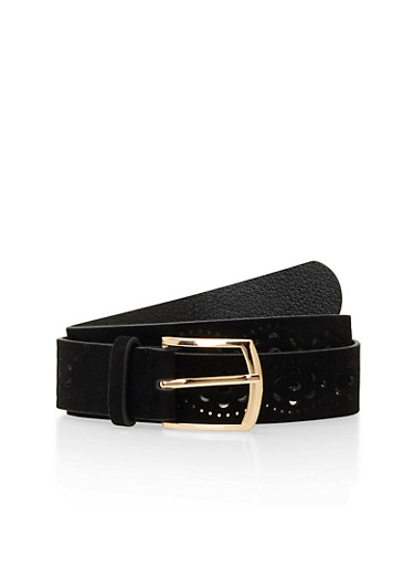 Perforated Faux Suede Belt,BLACK,large