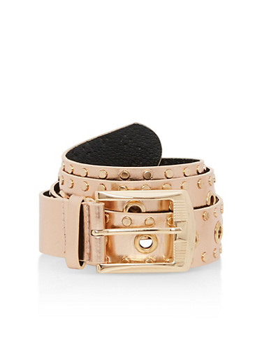 Plus Size Studded Faux Leather Belt,ROSE/GOLD,large