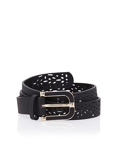 Perforated Belt with Trimmed Buckle,BLACK/BLACK,large