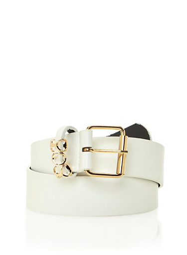 Solid Faux Leather Belt with Geo Accented Belt Loop,WHITE,large
