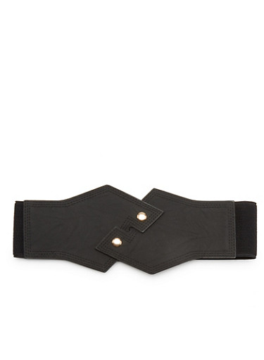 Faux Leather Geo Waist Belt with Snap Buttons,BLACK,large