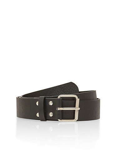 Plus Size Faux Leather Belt with Boss Embossed Design,BLACK,large