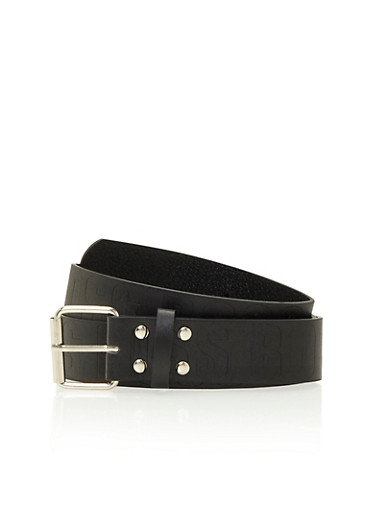 Boss Engraved Belt with Square Buckle,BLACK,large