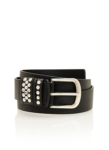 Plus Size Faux Leather Belt with Studded Loops,BLACK,large