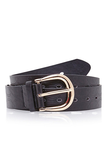Plus Size Faux Leather Belt with Etched Design,BLACK,large