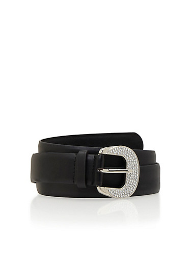 Plus Size Faux Leather Belt with Studded Buckle,BLACK,large