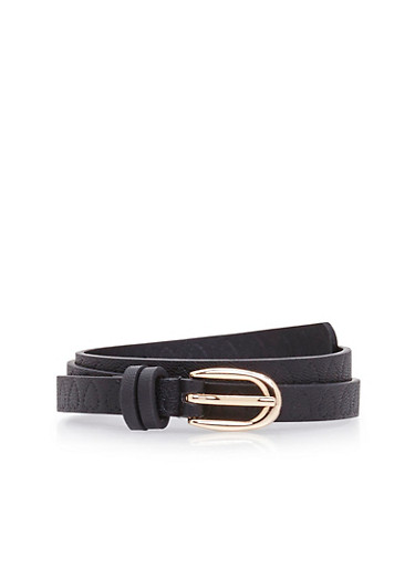 Faux Leather Skinny Belt with Embossed Heart Design,BLACK,large