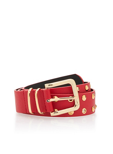 Faux Leather Belt with Studs and Grommet Accents,RED,large