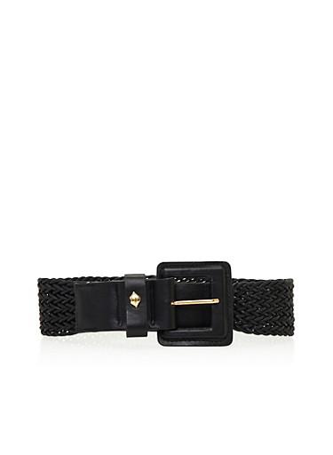 Woven Waist Belt,BLACK,large