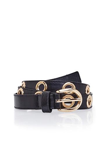 Faux Leather Belt with Grommet Accents,BLACK,large