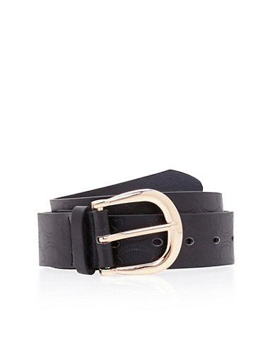 Faux Leather Belt with Embossed Heart Design,BLACK,large