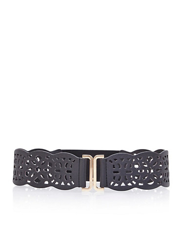 Waist Belt with Laser Cuts,BLACK,large