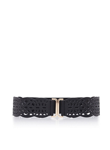 Plus Size Waist Belt in Lasercut Faux Leather,BLACK,large